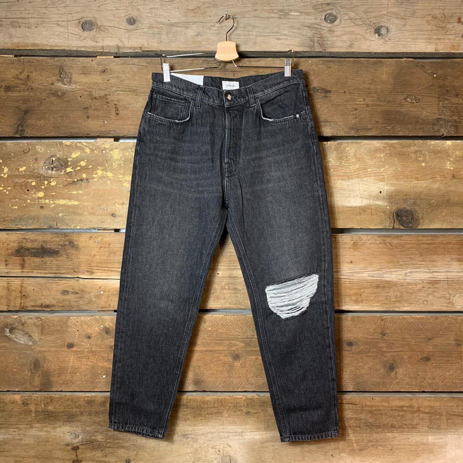 Jeans Amish Supplies Uomo Rave Nero Slavato con Spaccatura
