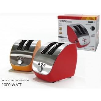 Tostapane 1000W In Due Colori Rosso o Arancione Con Vassoio Raccogli Briciole