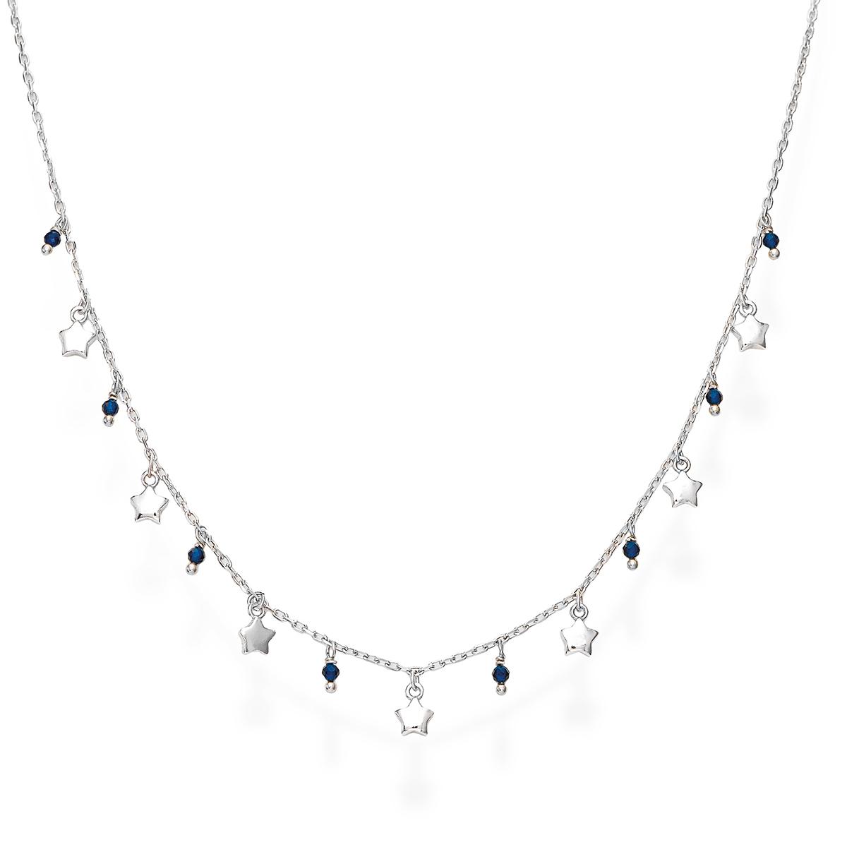 Collana Stelle Rodio e Cristalli Blu