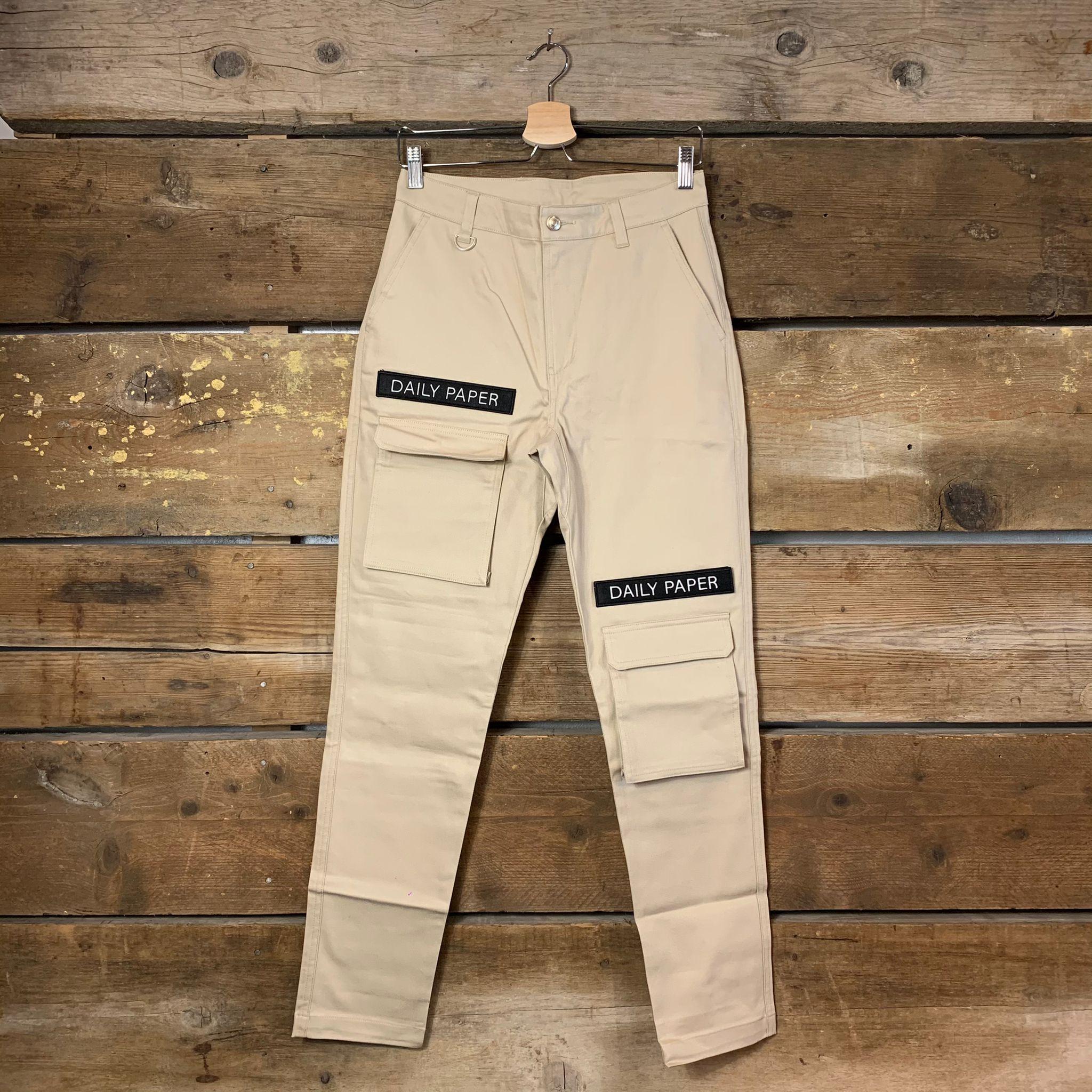 Pantalone Daily Paper Cargo con Patch Logate Beige