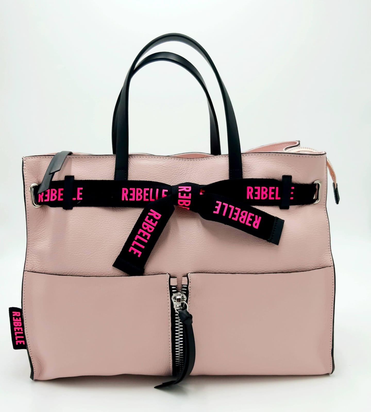 Borsa shopping Daphne in pelle bottalata rosa REBELLE