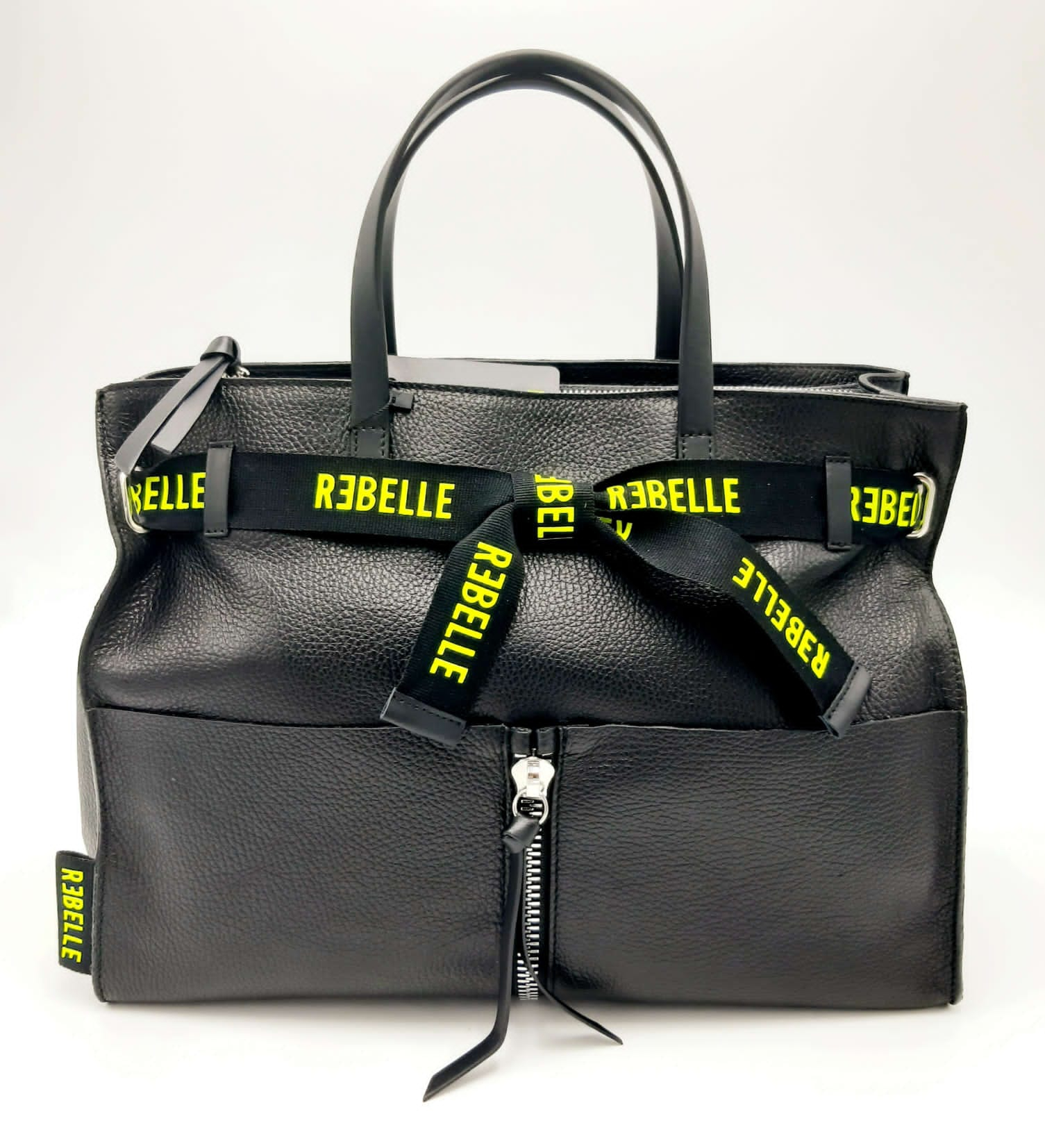 Borsa shopping Daphne in pelle bottalata nera REBELLE