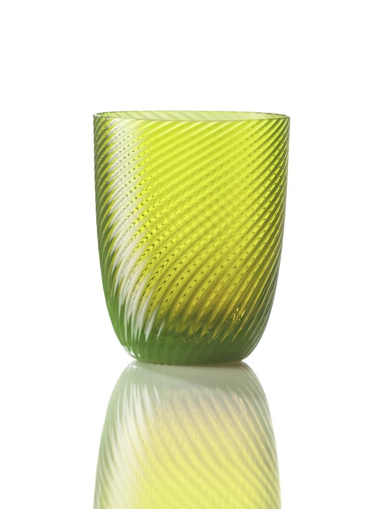 Bicchiere Idra Rigato Ritorto Verde Acido