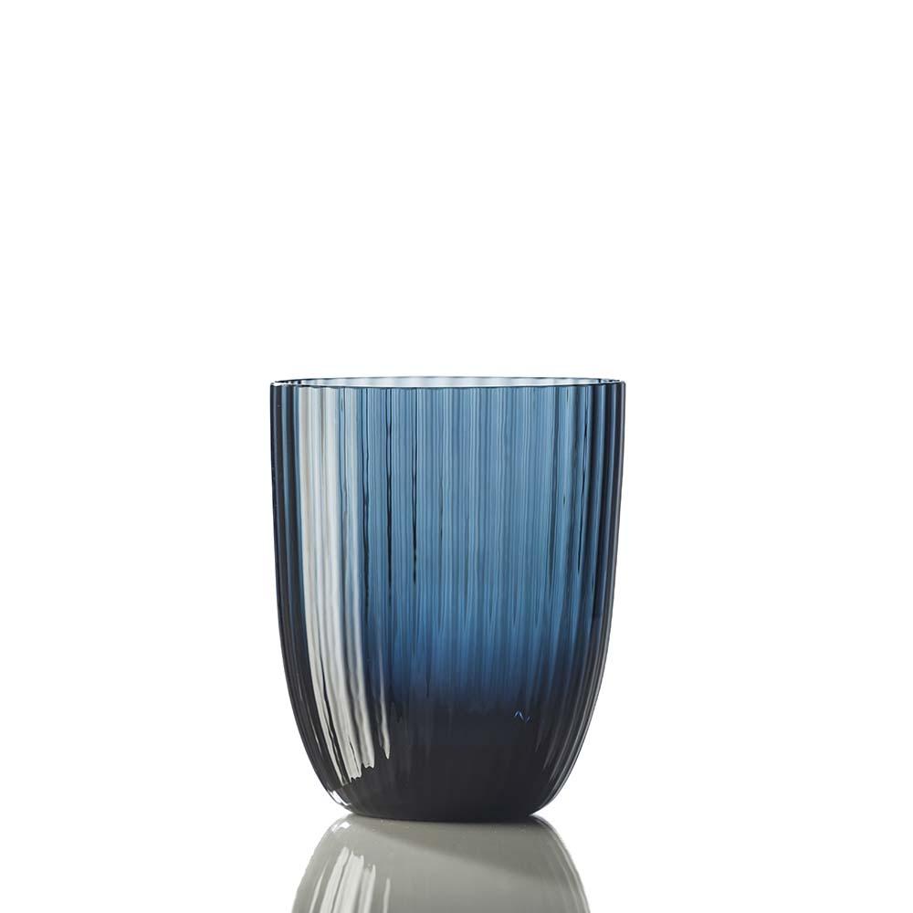 Bicchiere Idra Rigato Blu Avio