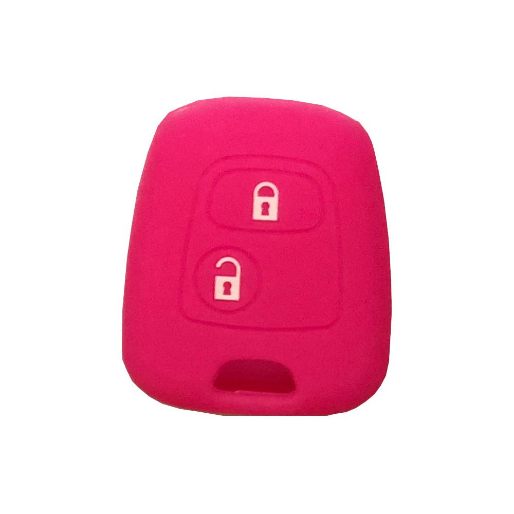 Cover Guscio Colorato Materiale Silicone Morbido Per Scocca Chiave 2 Tasti Auto Toyota Aygo In 10 Fantastici Colori (Fucsia)
