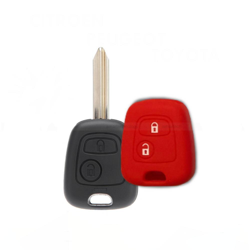 Cover Guscio Colorato Materiale Silicone Morbido Per Scocca Chiave Tasti Auto Peugeot 106 107 206 207 407 806 - 10 Colori (Rosso)