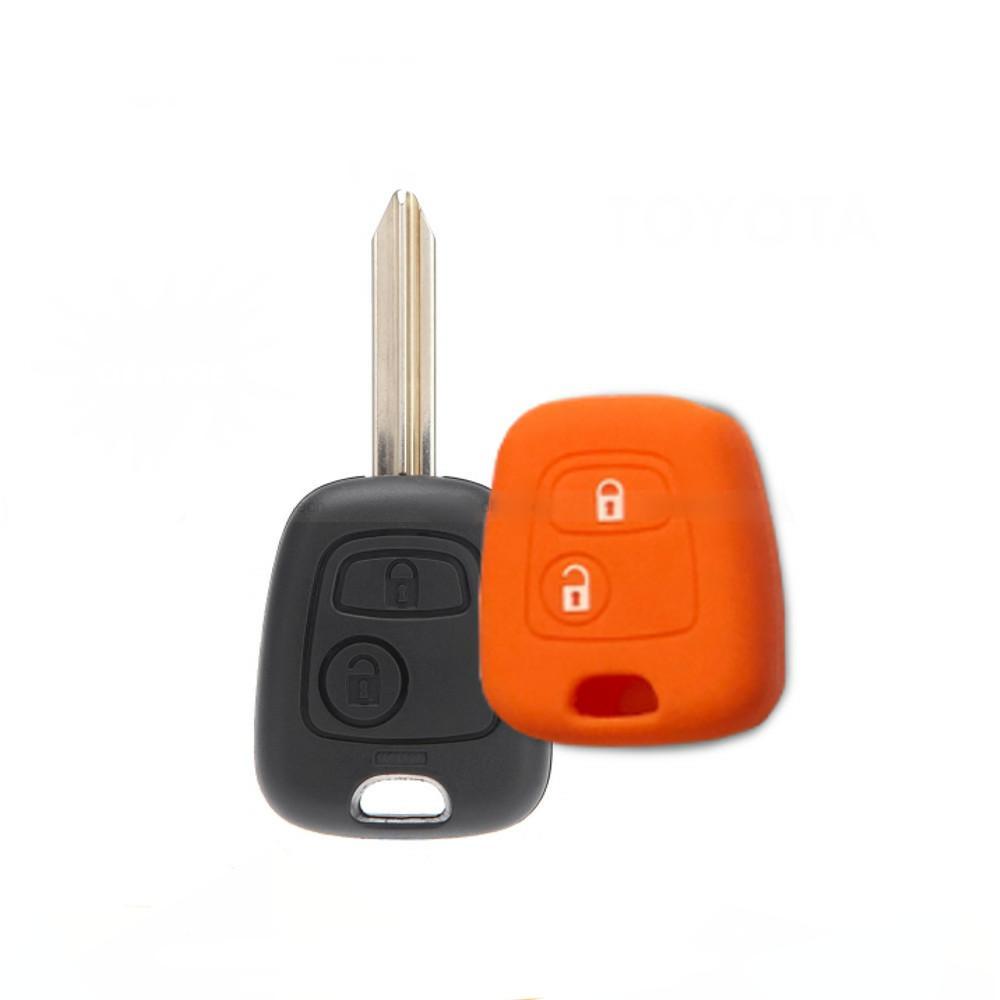 Cover Guscio Colorato Materiale Silicone Morbido Per Scocca Chiave Tasti Auto Peugeot 106 107 206 207 407 806 - 10 Colori (Arancio)