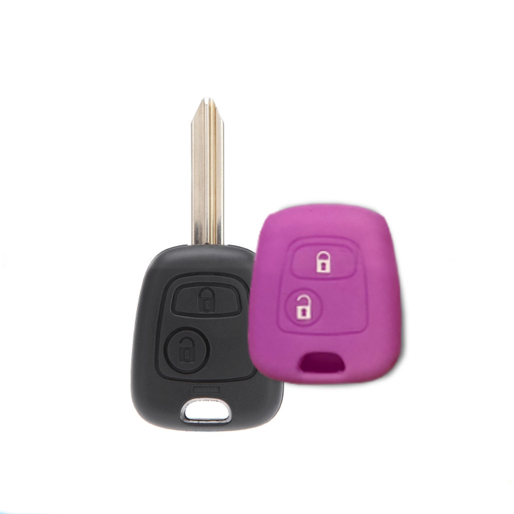 Cover Guscio Colorato Materiale Silicone Morbido Per Scocca Chiave 2 Tasti Auto Toyota Aygo In 10 Fantastici Colori (Viola)