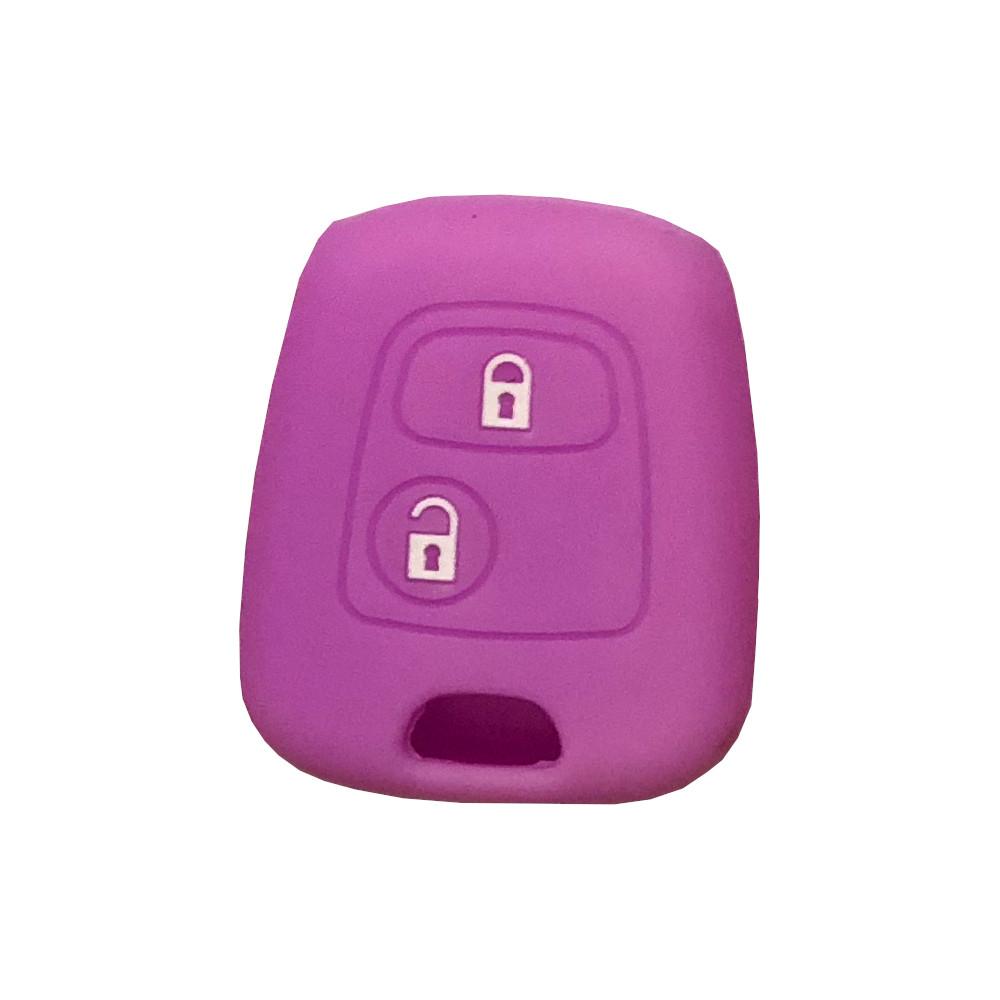 Cover Guscio Colorato Materiale Silicone Morbido Per Scocca Chiave Tasti Auto Peugeot 106 107 206 207 407 806 - 10 Colori (Viola)
