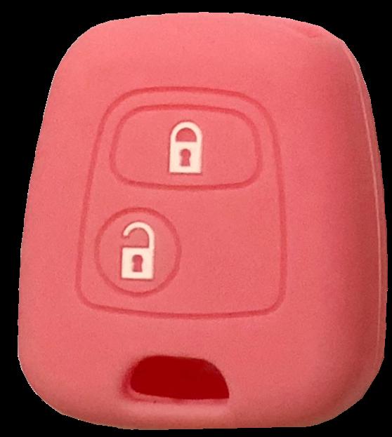 Cover Guscio Colorato Materiale Silicone Morbido Per Scocca Chiave Tasti Auto Peugeot 106 107 206 207 407 806 - 10 Colori (Rosa)