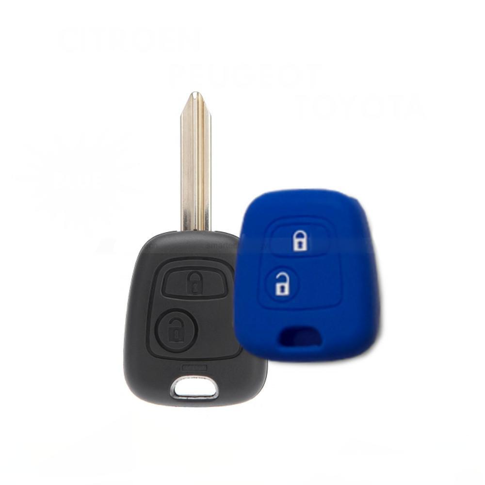 Cover Guscio Colorato Materiale Silicone Morbido Per Scocca Chiave Tasti Auto Peugeot 106 107 206 207 407 806 - 10 Colori (Blu)
