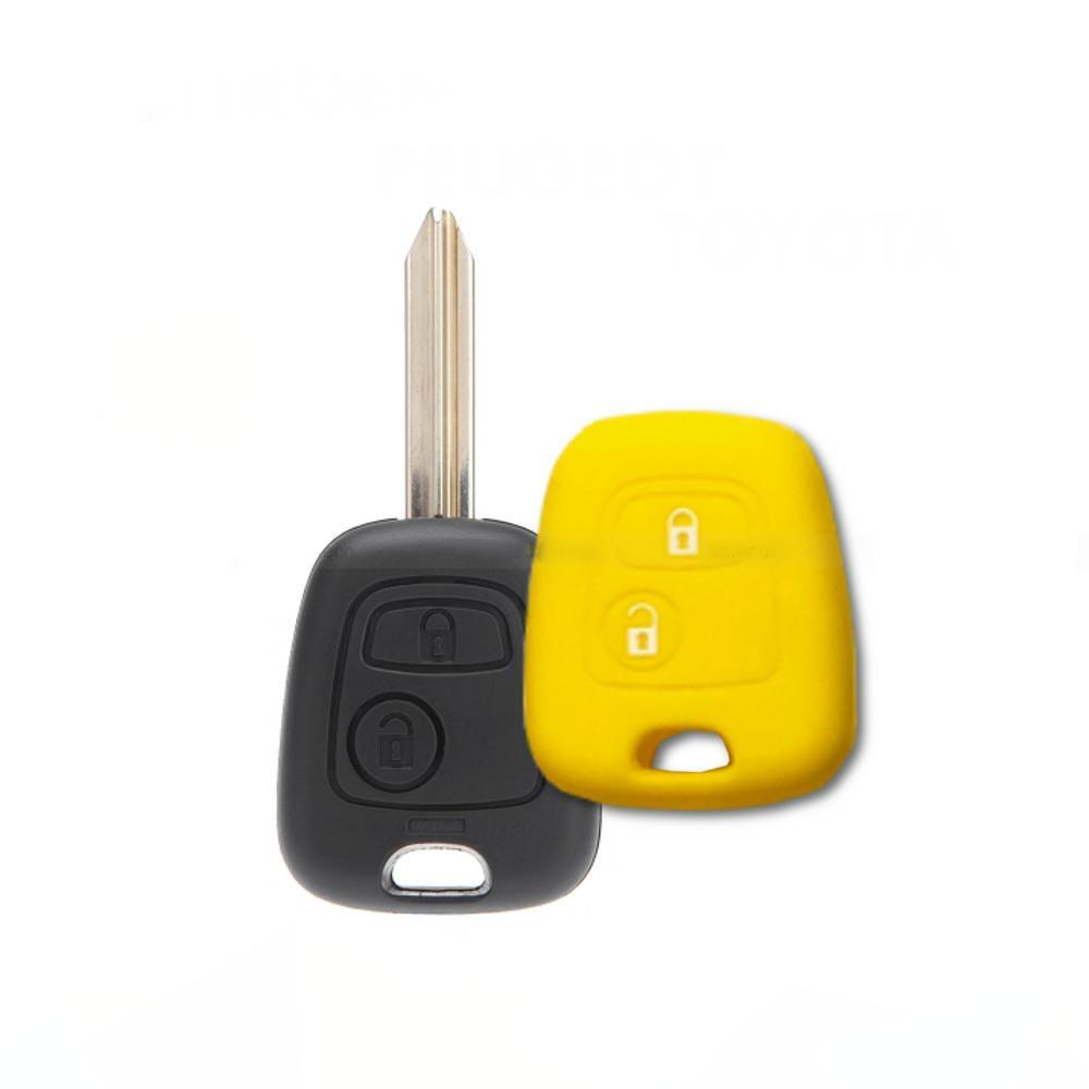 Cover Guscio Colorato Materiale Silicone Morbido Per Scocca Chiave Tasti Auto Peugeot 106 107 206 207 407 806 (Giallo)