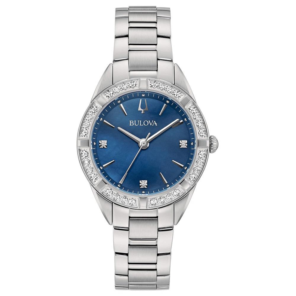 Bulova Sutton Lady Orologio, lunetta con diamanti, quadrante blu