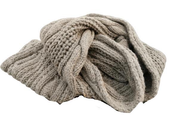 Sciarpa in lana |a trecce grigia |made in Italy