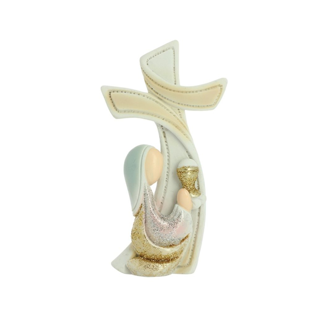 Croce d'appoggio bimba Prima Comunione in resina