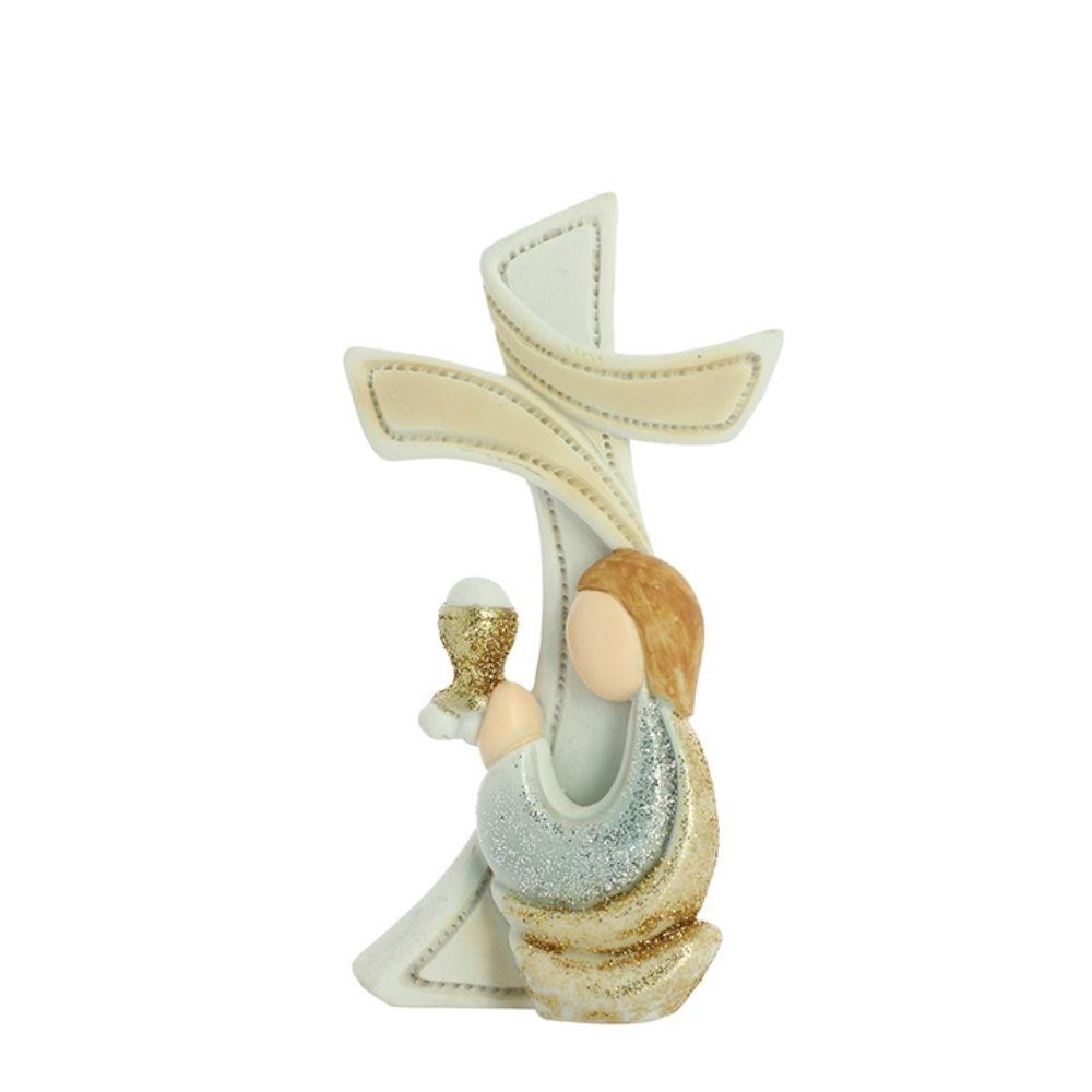 Croce d'appoggio bimbo Prima Comunione in resina