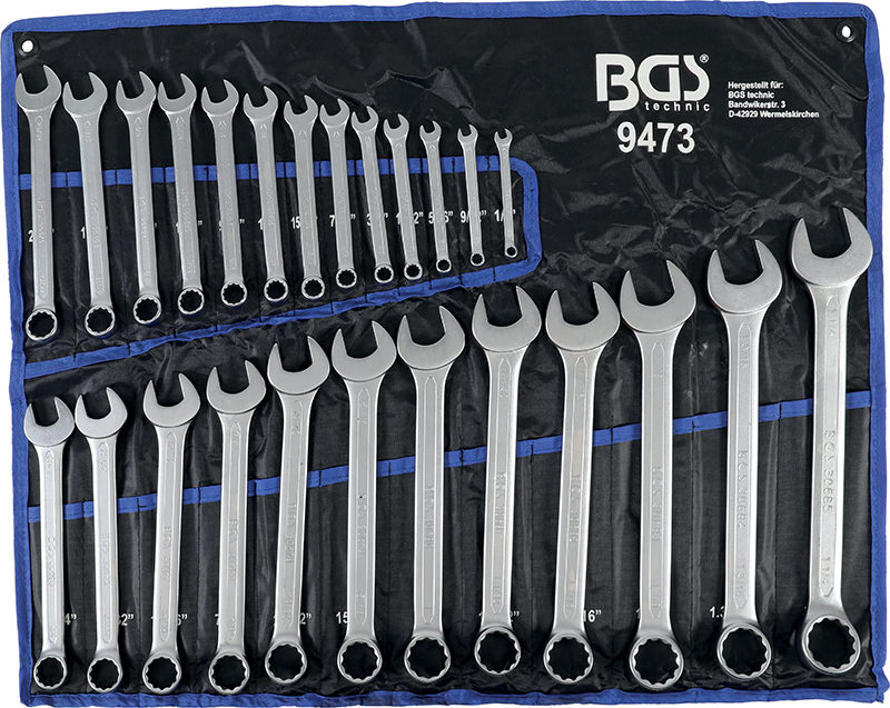 Serie 25 chiavi combinate in pollici BGS 9473