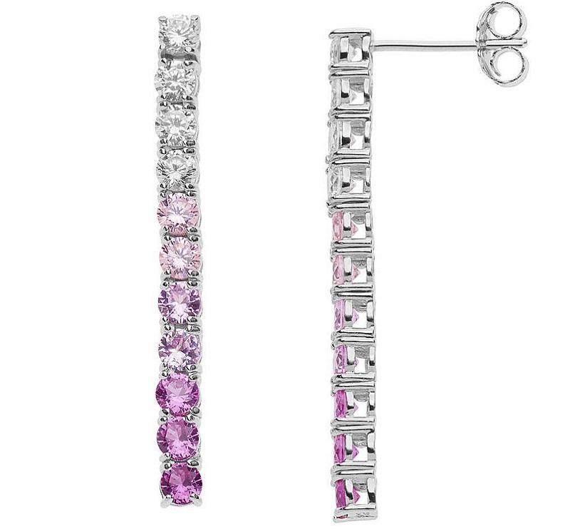 Comete Orecchini Farfalle, cristalli degradè bianchi - rosa