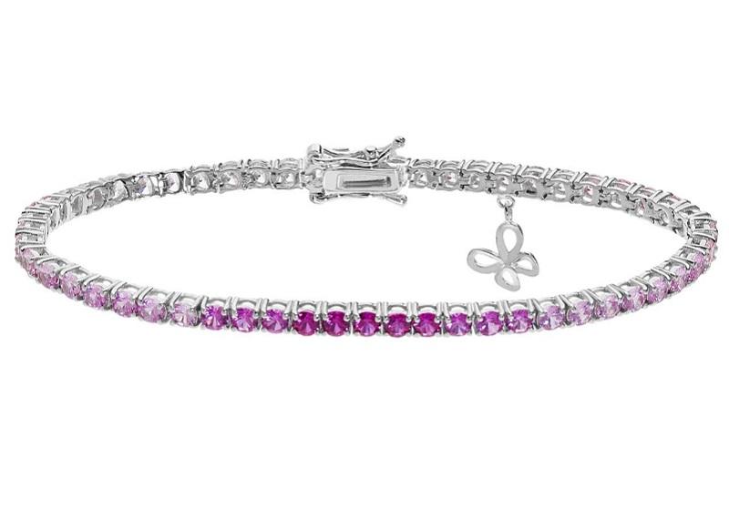 Comete Bracciale Farfalle, Tennis cristalli degradè bianchi - rosa