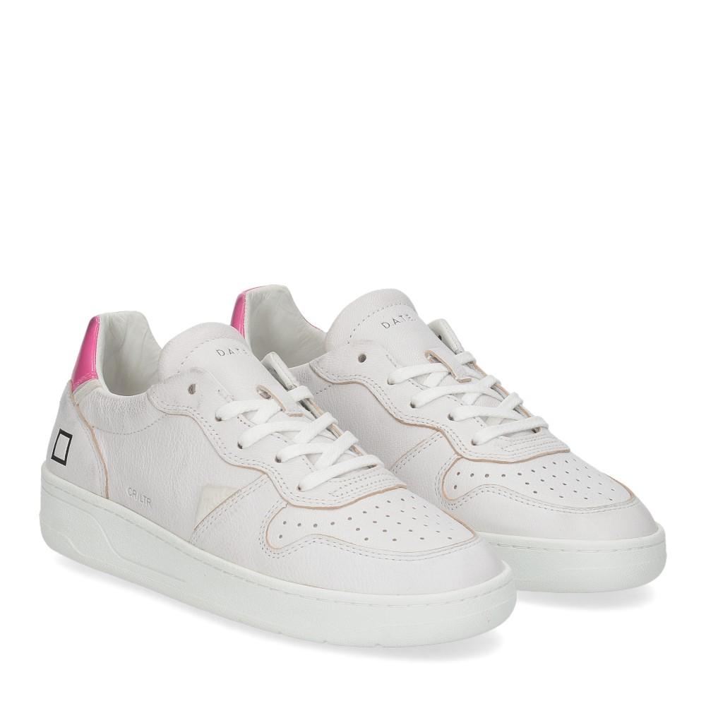 D.A.T.E. Court leather white fuxia