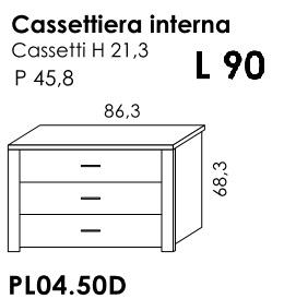 CASSETTIERA INTERNA 3 CASSETTI H 21VANO 90 CM SCORREVOLE GOLF 2019