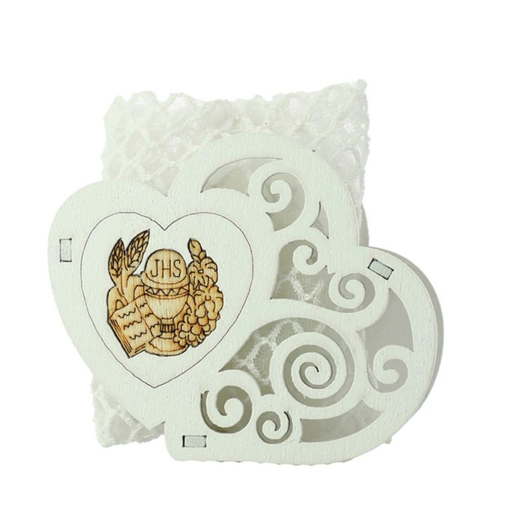 Box legno doppio cuore con bustina Comunione