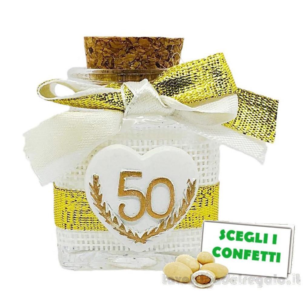 Barattolino portaconfetti Oro 50° Anniversario 4x4x5 cm - Contenitori nozze d'oro