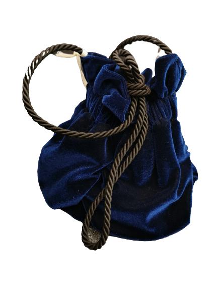 Borsina donna |velluto liscio |blu |cordino| a tracolla | Made in Italy