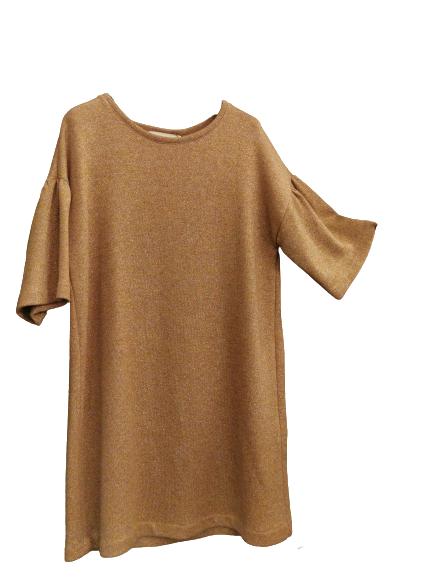 Abito donna| in maglia beige | con manica 3/4 | con fili lurex |lunghezza sopra il ginocchio | Made in Italy