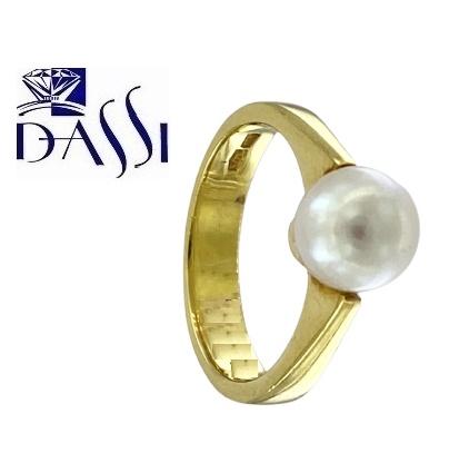 Classico anello in oro giallo 18kt  con perla misura 7