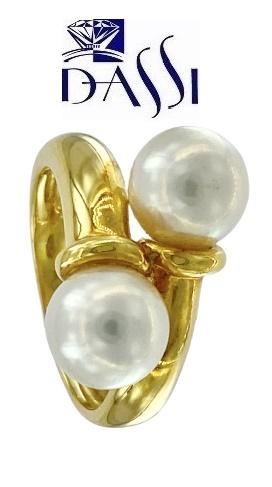 Moderno anello in oro giallo 18kt  con 2 perle misura 8.