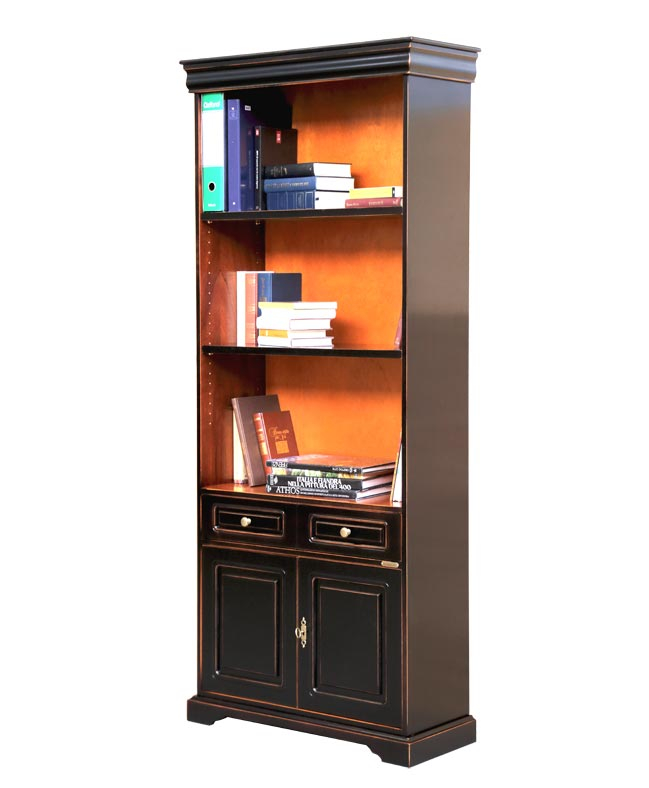 2-door black lacquered bookcase