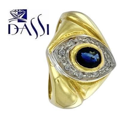 Classico anello in oro giallo 18kt  con zaffiro centrale e zirconi