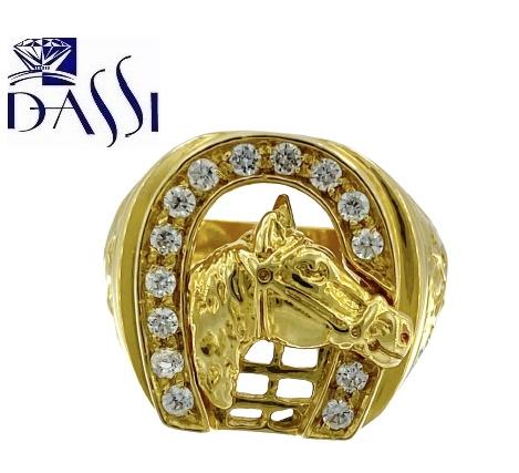 Anello uomo in oro giallo 18 kt con zirconi e testa di cavallo