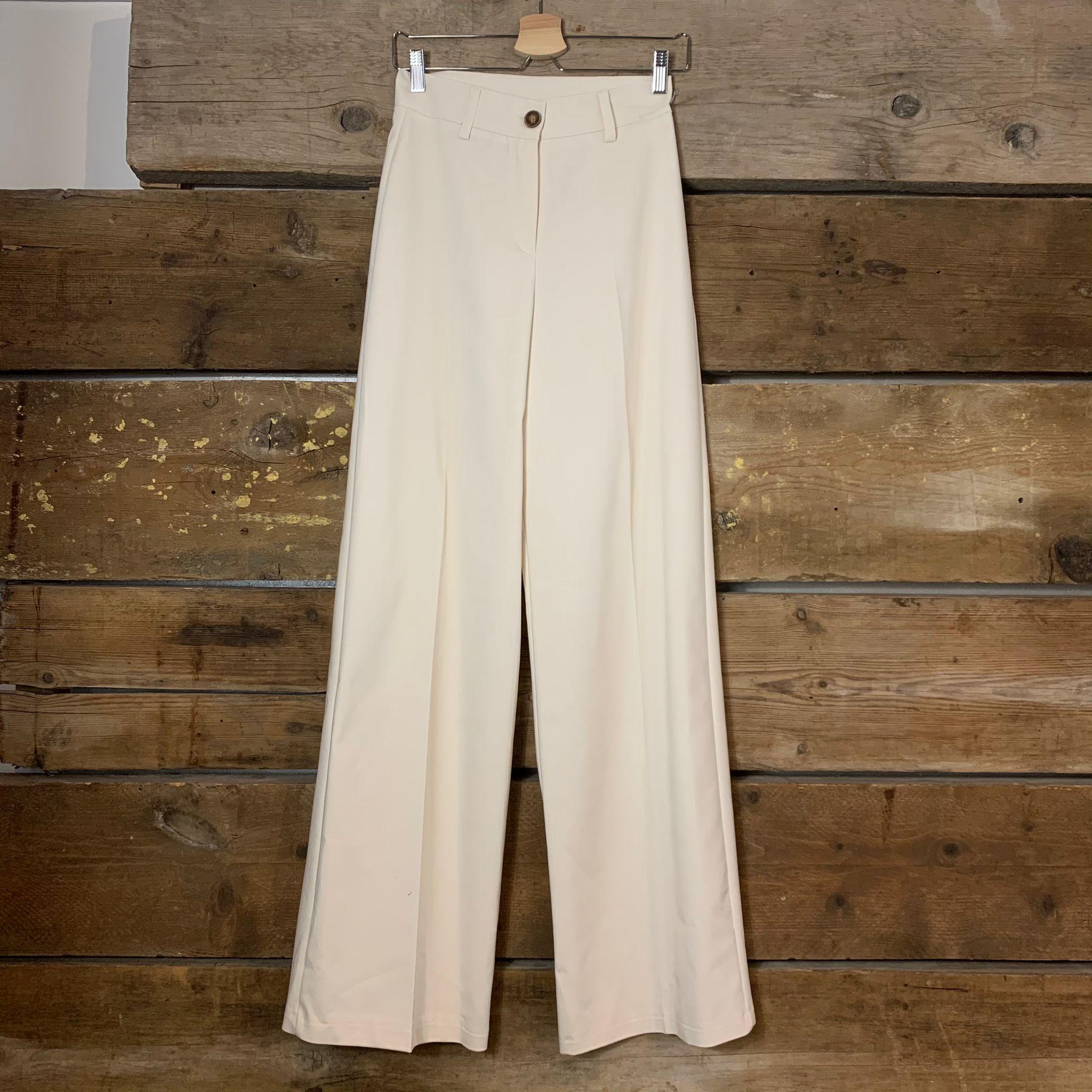 Pantalone Kostumn A Palazzo In Cotone Elasticizzato Panna