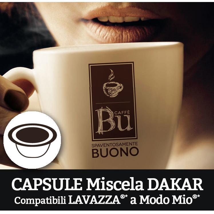 Caffè BU Kit 100 capsule miscela DAKAR per macchine Lavazza A Modo Mio