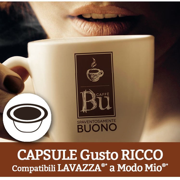 Caffè BU Kit 100 capsule miscela RICCO per macchine Lavazza A Modo Mio