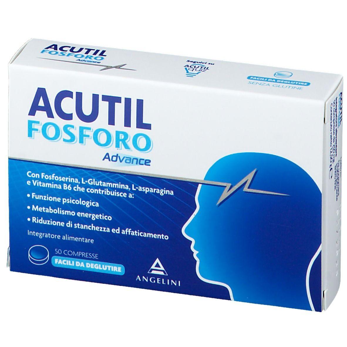 INTEGRATORE ACUTIL FOSFORO ADVANCE 50 COMPRESSE A BASE DI FOSFORESINA, GLUTAMINA, ASPARAGINA, VITAMINA B6 CHE CONTRIBUISCE ALLA NORMALE FUNZIONE PSICOLOGICA E ALLA RIDUZIONE DI STANCHEZZA E AFFATICAMENTO.