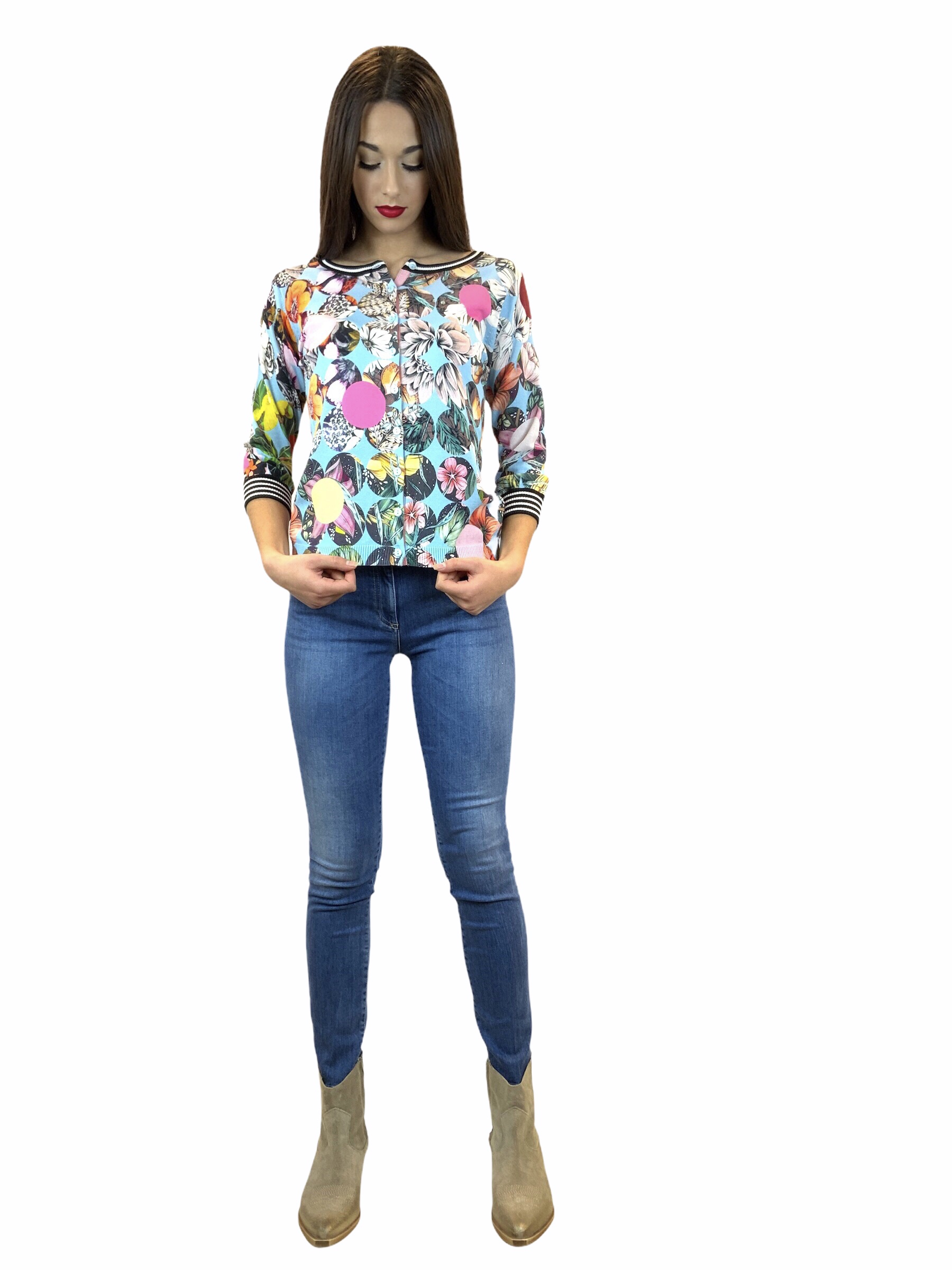 JEI'S CARDIGAN STAMPA TROPICALE