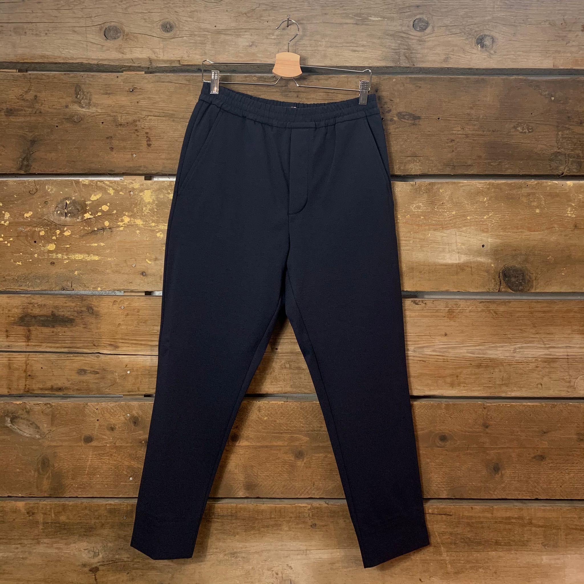 Pantalone Hosio Uomo Jogger In Cotone Elasticizzato Blu Scuro