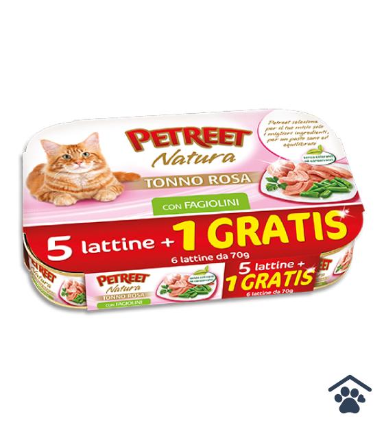 Petreet Umido Natura per Gatti - Multipack Tonno Rosa con Fagiolini 6 x 70g