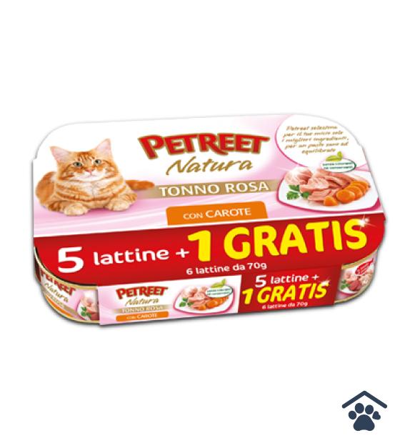 Petreet Umido Natura per Gatti - Multipack Tonno Rosa con Carote 6x 70g