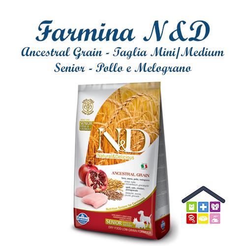 Farmina N&D | Linea ANCESTRAL GRAIN CANINE | Gusto Pollo e Melograno SENIOR - Taglia Mini/Medium - 2.5Kg