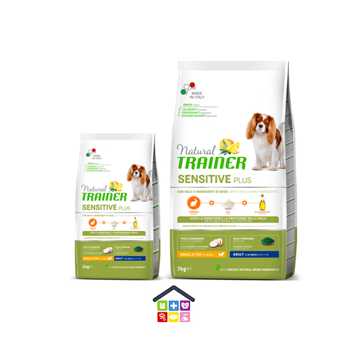 NATURAL TRAINER | LINEA SECCO CANE SENSITIVE PLUS | MINI SMALL & TOY ADULT con CONIGLIO, RISO E OLIO / 2KG