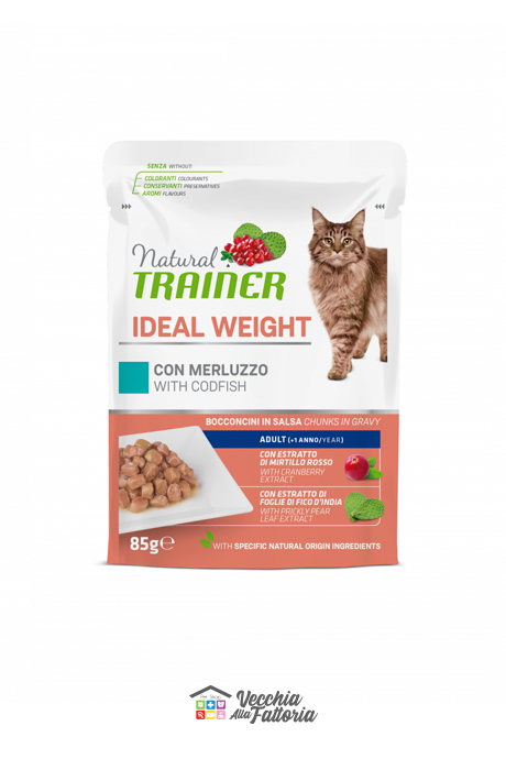 NATURAL TRAINER | LINEA UMIDO GATTO Ideal Weight Adult | Merluzzo / 85gr