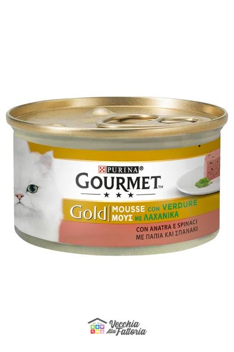 PURINA   GOURMET GOLD - Mousse / Gusto: Anatra e Verdure (Spinaci) - 85gr
