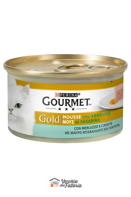PURINA | GOURMET GOLD - Mousse / Gusto: Merluzzo con Verdure (Carote) - 85gr