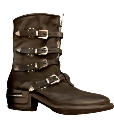Stivale modello texano donna   in pelle nera  fondo cuoio  fibbie laterali  cerniera laterale  dettaglio acciaio sul tacco   altezza tacco 5 cm   Made in Italy