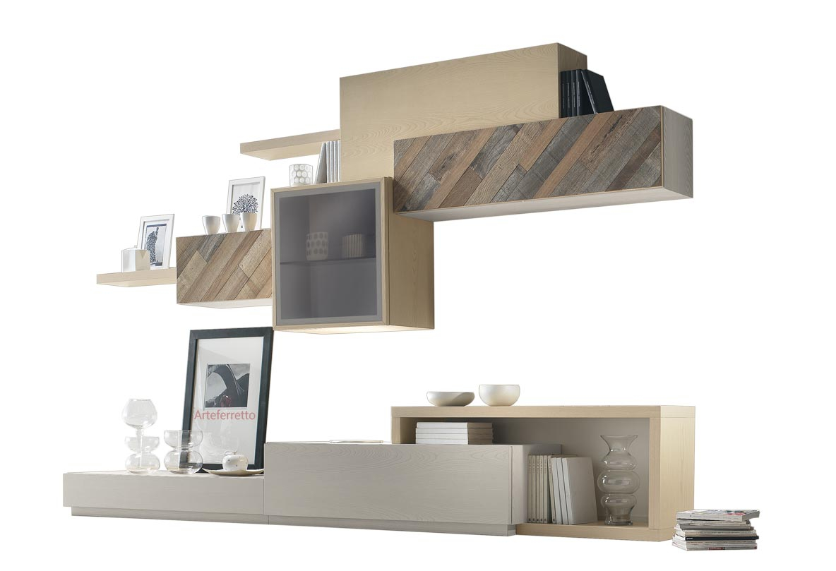 Living room wall unit in ash wood