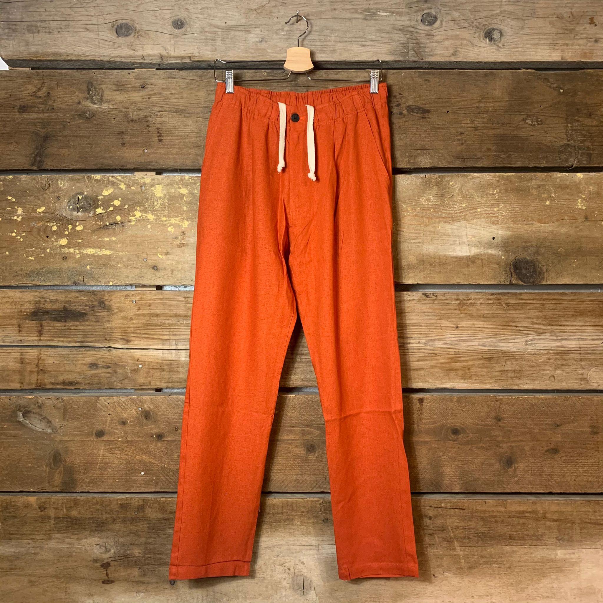 Pantalone Bakery Supply Lowan Porto Lucas in Lino Arancione
